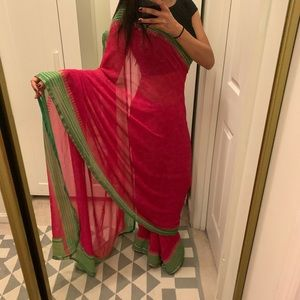 Other - Beautiful pink and green chiffon sari. No blouse